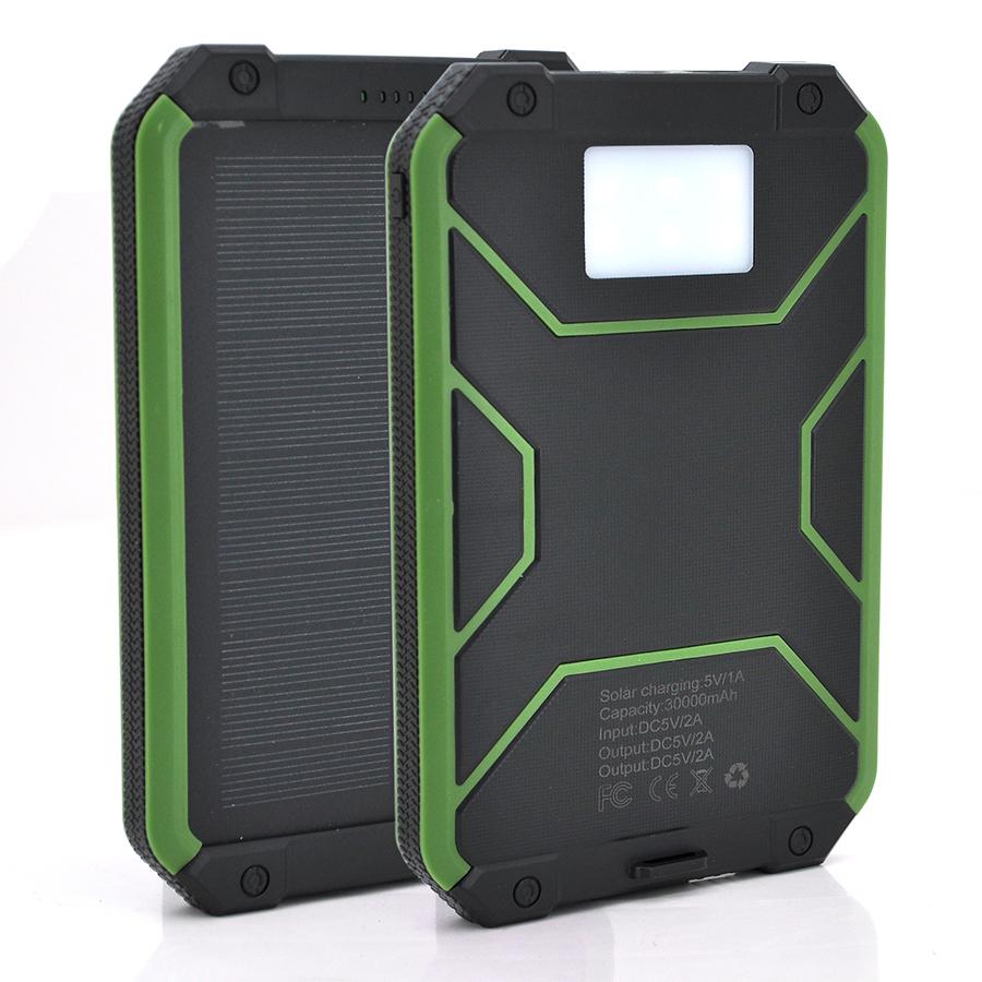 Купить Power bank 30000 mAh Solar, (5V/200mA), 2xUSB, 5V/1A/2.1A, USB  microUSB, влаго/ударо защищеный прорезиненный корпус, Black/Blue, Corton BOX