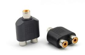 Купить сплиттер RCA (мама)/2 RCA (мама), Black, пластик,Q100